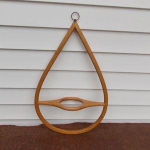 Vintage Danish Wooden Teardrop Hanging Plant Hang
